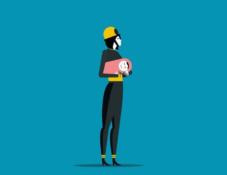 Firefighting. Fireman with rescue equipment situations isolated. Concept labor vector illustration, Career, labor character. Reklamní fotografie - 129755245