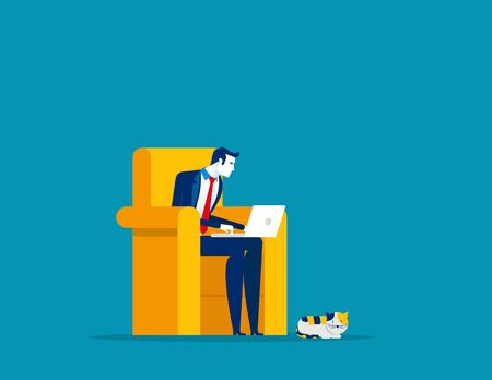 Businessman working at home. Concept business vector, Freelance, Working At Home, Home office. Ilustrace