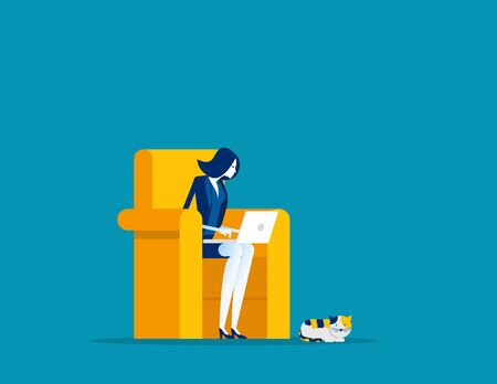 Businesswoman working at home. Concept business vector, Freelance, Working At Home, Home office.