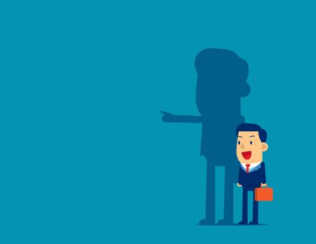 Businessman and shadow pointing to target. Concept business vector illustration,  Achievement, Direction.