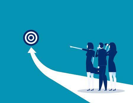 Success. Business team analysis to success. Concept business vector illustration, Flat business cartoon design, Arrow. Reklamní fotografie - 129755271