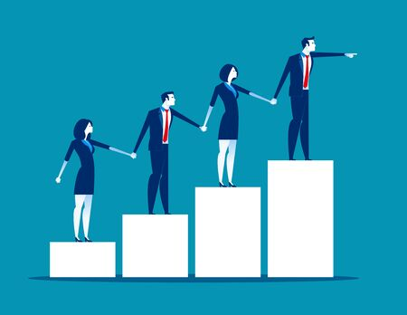 Teamwork. Business team holding each others hands. Concept business vector illustration, Flat business cartoon style, Together, Chart. Ilustrace