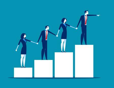 Teamwork. Business team holding each others hands. Concept business vector illustration, Flat business cartoon style, Together, Chart. Ilustração