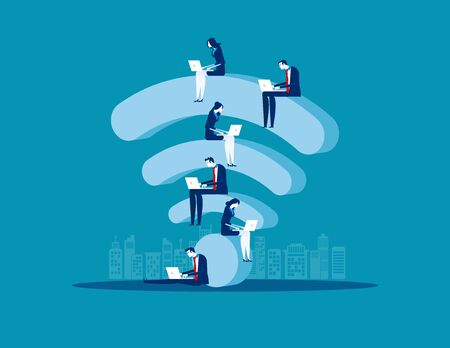 Sitting on wifi, Business people and online marketing, Concept business vector illustration, Flat business cartoon, Internet wifi support. Ilustrace