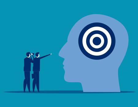 Business team and strategy marketing advertising, Concept business vector illustration, Communication, Target, Flat business cartoon, Analysis. Reklamní fotografie - 129985797