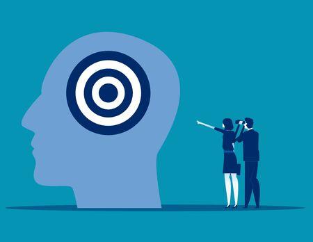 Business team and strategy marketing advertising, Concept business vector illustration, Communication, Target, Flat business cartoon, Analysis. Reklamní fotografie - 129985798