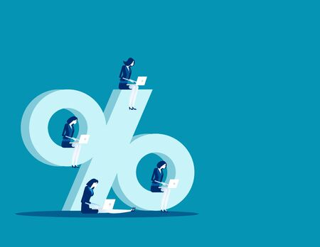 Sitting on Percentage sign, Business people and online marketing, Concept business vector illustration, Flat business cartoon, Percentage sing, Isolate.