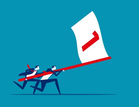 Business team holding flag number one and running the way forward. Concept business vector illustration, Winner, Teamwork, Success, Flat business cartoon. Zdjęcie Seryjne - 129985814