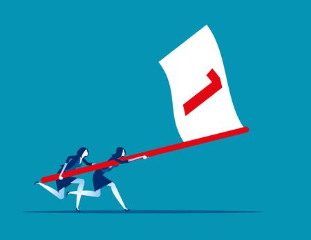 Business team holding flag number one and running the way forward. Concept business vector illustration, Winner, Teamwork, Success, Flat business cartoon.
