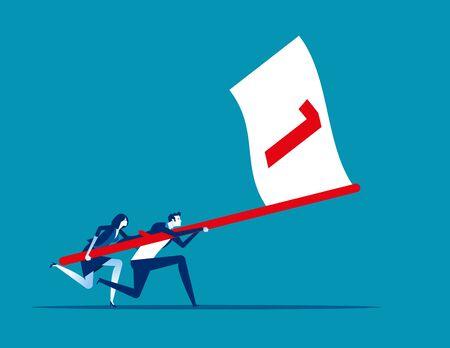 Business team holding flag number one and running the way forward. Concept business vector illustration, Winner, Teamwork, Success, Flat business cartoon. Reklamní fotografie - 129986016