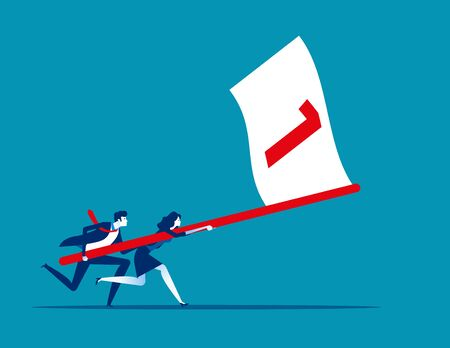 Business team holding flag number one and running the way forward. Concept business vector illustration, Winner, Teamwork, Success, Flat business cartoon. Reklamní fotografie - 129986015
