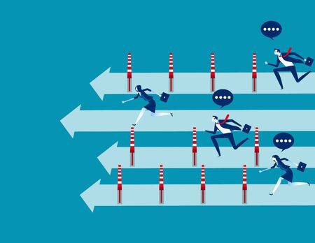 Business people and winning the race, Concept business vector illustration, Flat business cartoon, Unfair, Competition, Running to success. Reklamní fotografie - 129986019