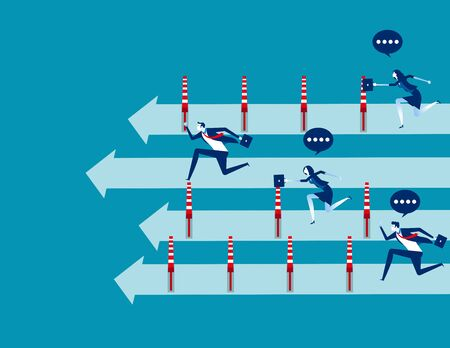 Business people and winning the race, Concept business vector illustration, Flat business cartoon, Unfair, Competition, Running to success. Reklamní fotografie - 129986022