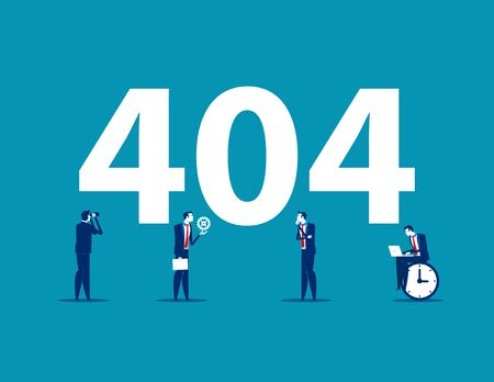 Error 404 page. Concept business vector illustration. Searching , Analysis, repair, Time, Flat business cartoon. Ilustrace