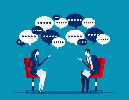 Office workers meeting and talk with business, Concept business vector illustration, Flat business cartoon, Speech balloons, Ideas, Agreement. Reklamní fotografie - 129974948