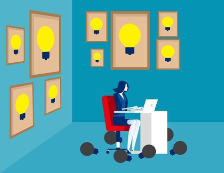 Businesswoman thinking idea, Concept business vector illustration, Surrounded, Large framed, Successful.