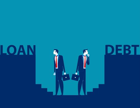 Risks of doing business. Concept business vector illustration, Loan and Debt, Direction, Looking and Analysis.