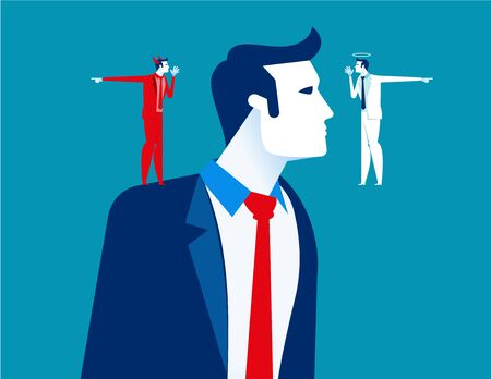Decision making of business people. Concept business vector illustration, Devil and angle, Flat business cartoon, Confusion, Uncertainty, Thinking.