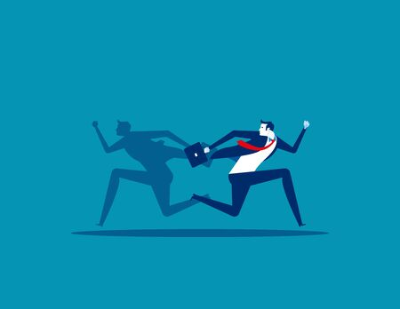 Businessman and shadow running different way. Concept business vector illustration, Flat business cartoon, Different, People, Direction. Ilustrace