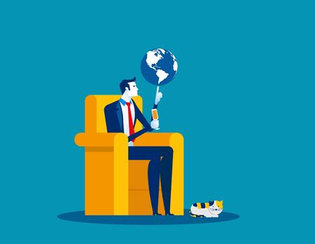 Businessman and globe at fingertips. Concept business vector illustration, Control, Management, Lordship.