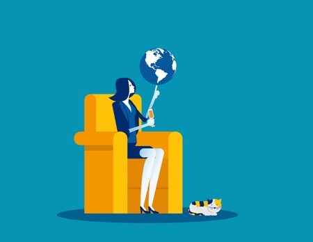 Businesswoman and globe at fingertips. Concept business vector illustration, Control, Management, Lordship.