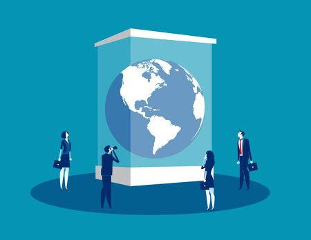 Globe in a museum glass box. Concept business vector illustration, Extinct, People, Looking and Searching.