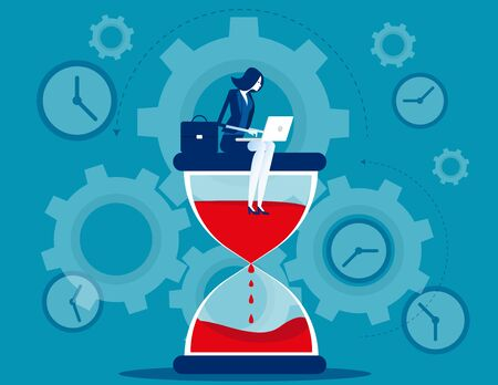 Time management. Businesswoman sitting on hourglass. Concept business vector illustration.