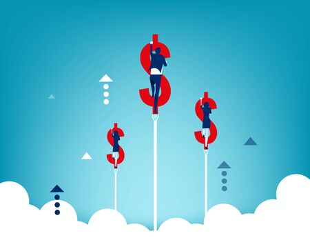 Growth. Business people inside a dollar sign and flying up. Concept business vector illustration.