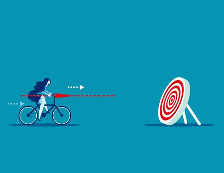 Manager determination and target. Concept business vector illustration, Ride a bicycle, Marketing, Successful.
