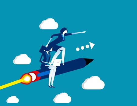 Business team flying on pen. Concept business vector, Teamwork, Working, Successful.