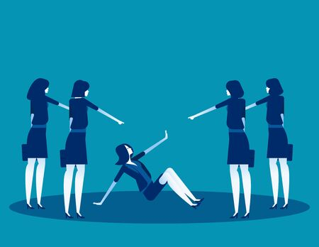 Business people pointing to penalty in the team. Concept business vector, Teamwork, Blaming, Bullying. Ilustrace