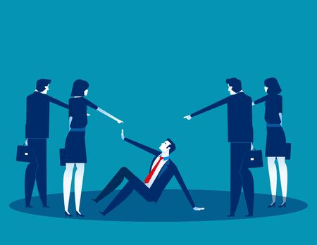Business people pointing to penalty in the team. Concept business vector, Teamwork, Blaming, Bullying. Illustration