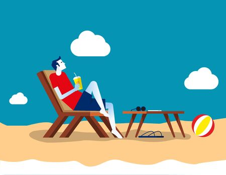Businessman at ocean beach. Concept business vector, Holiday,  Relax, Summer. Illustration