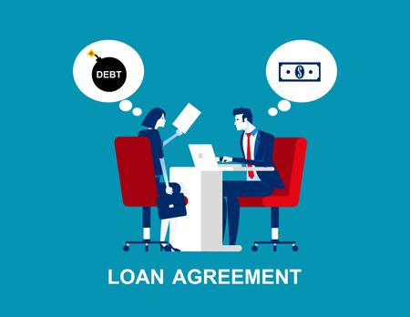 Business person make a loan agreement. Concept business vector, Debt, Financial, Money & Currency.