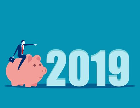 2019 New Year. Businessman pointing to success. Concept business vector, Holiday, Finance and economy.