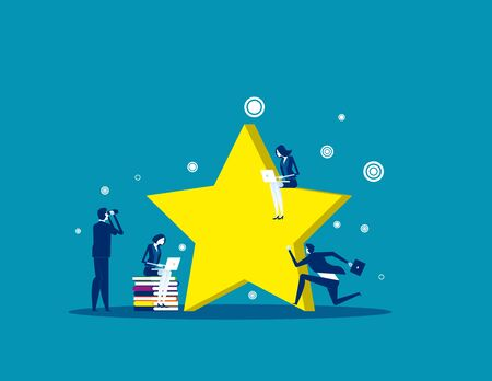 Business team working around big stars. Concept business vector, Rating, Review, Feedback.