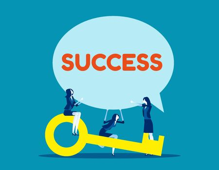 Business team and success speech bubble. Concept business vector, Achievement, Key, Teamwork.