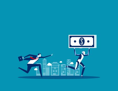 Robot take up the money. Concept business vector, Technology, Robot, Artificial Intelligence.