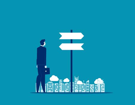 Businessman choice with direction. Concept business vector, Flat design.
