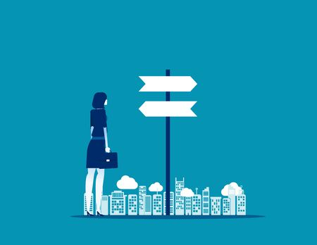 Businesswoman choice with direction. Concept business vector, Flat design.