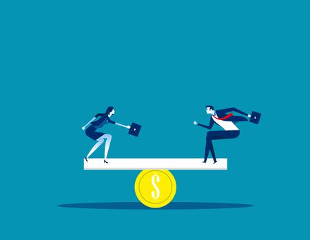 Business and money balance. Concept business vector, Finance, Currency, Coins.  Ilustracja