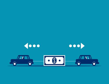Business people competition for money. Concept business vector, Currency, Cars.