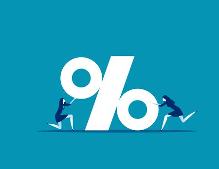 Business team with percentage sign. Concept business vector, Teamwork,  Percent, Growth. Ilustrace