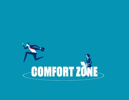 Business person jumping out comfort zone. Concept business vector, Outside, Freedom, Exit  Ilustrace