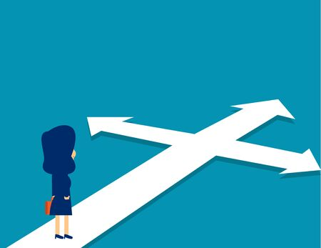 Businesswoman standing confused direction. Concept cute business vector illustration. Crossroad, Opportunity, Confusion
