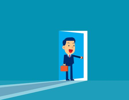 Businessman opening door. Concept cute business vector illustration,  Challenge, Successful, Flat cut character style.