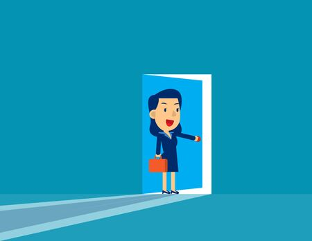 Businesswoman opening door. Concept cute business vector illustration,  Challenge, Successful, Flat cut character style.
