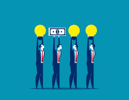 Business people and different presentation. Concept business vector. Money, Light bulb,  Referees. Illustration