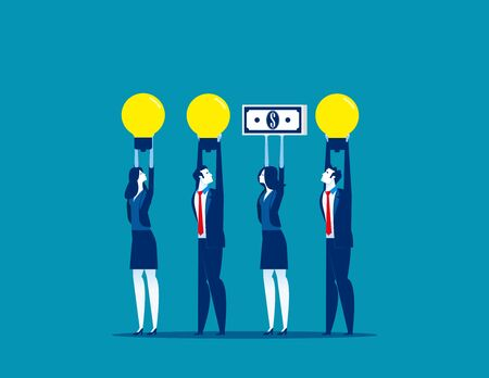 Business people and different presentation. Concept business vector. Money, Light bulb,  Referees. Ilustrace