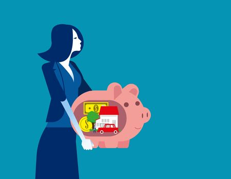 Business Woman holds piggy bank and dreams. Concept business vector, Planning, Future financial, Saving and investing.